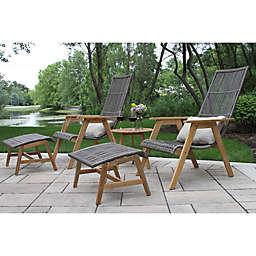 Outdoor Interiors® 4-Piece Teak & Wicker Basket Patio Lounger Set