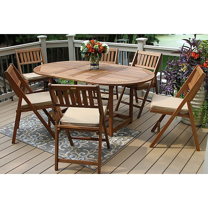 Outdoor Interiors 7 Piece Eucalyptus Wood Folding Patio Set