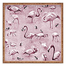 Deny Designs Vintage by Lisa Argyropoulos Square Serving Tray with Flamingos
