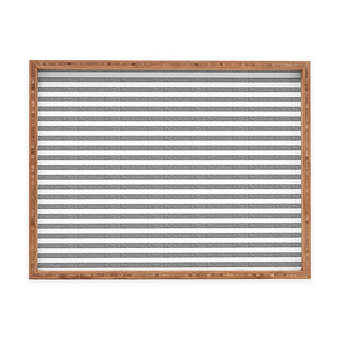 Alternate image 1 for Deny Designs by Little Arrow Design Co. Small Rectangular Serving Tray in Grey Stripes