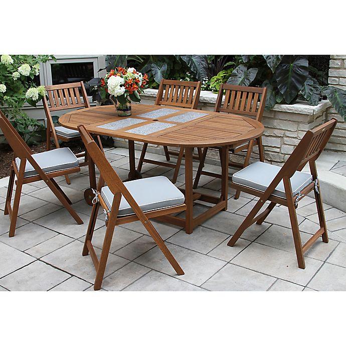 Outdoor interiors 7 piece eucalyptus wood folding dining - Outdoor interiors 7 piece patio set ...