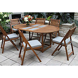Outdoor Interiors® 7-Piece Eucalyptus Wood Folding Dining Set