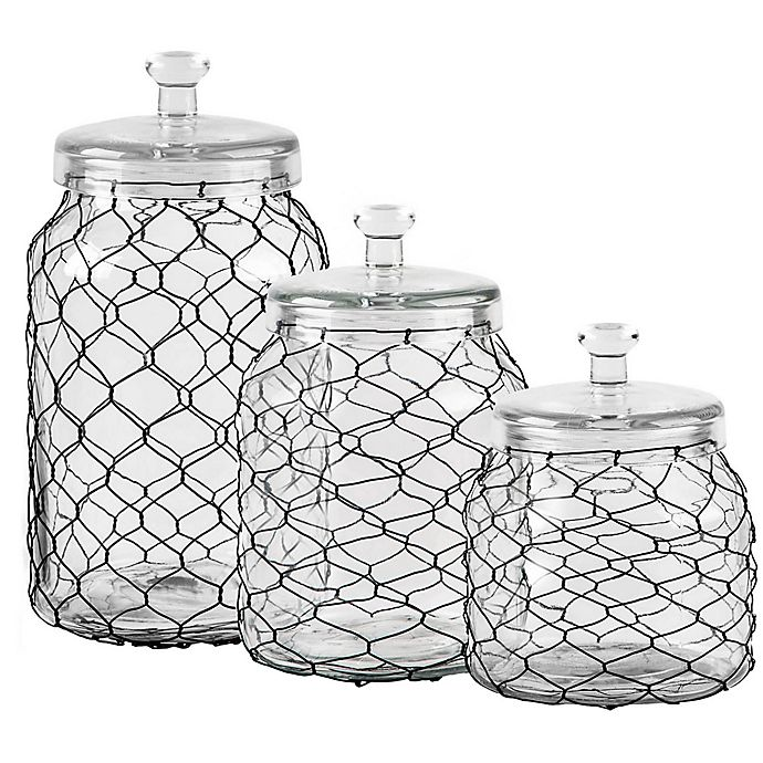 Home Essentials Beyond Chicken Wire Wrapped Clear Canister Bed