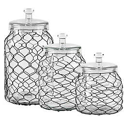 Home Essentials & Beyond Chicken Wire Wrapped Clear Canister