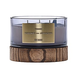 DW Home Bergamot and Sugarcane Wood-Accent 17 oz. 3-Wick Jar Candle in Grey