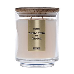 DW Home Vanilla Brulee and Almond Wood-Accent 19 oz. Jar Candle in Ivory