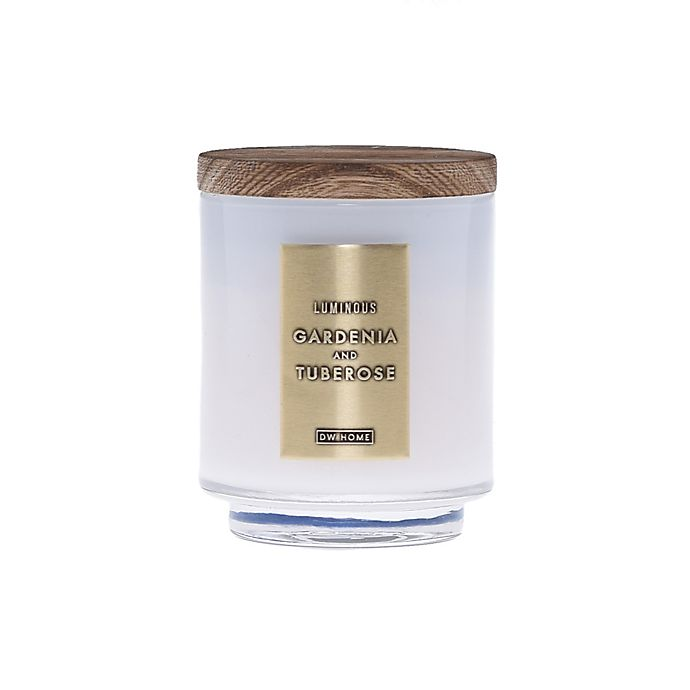Alternate image 1 for DW Home Gardenia and Tuberose Wood-Accent 4 oz. Jar Candle in White