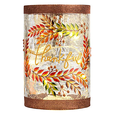 Heritage Home Thankful LED Lighted Glass Hurricane