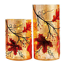 Heritage Home Harvest Leaves 2-Piece LED Lighted Glass Hurricane Set