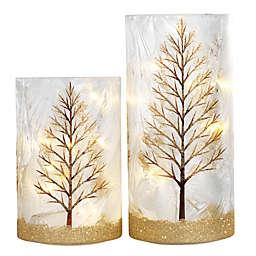 heritage home glitter tree 2 piece led lighted glass hurricane set - Holiday Value Decorative Christmas Set