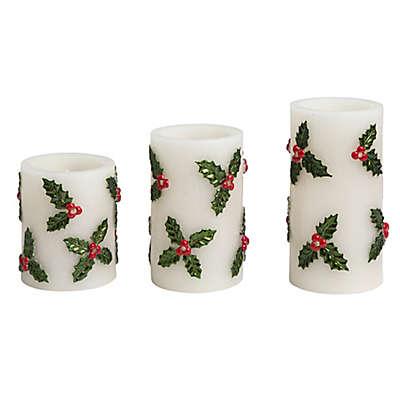 Loft Living Embossed Mistletoe 3-Piece LED Pillar Candle Set