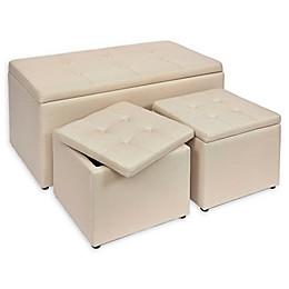 Linen Upholstered Bench & Ottomans (Set of 3)