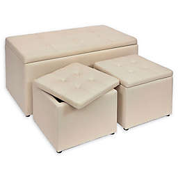 Linen Upholstered Ottomans (Set of 3)