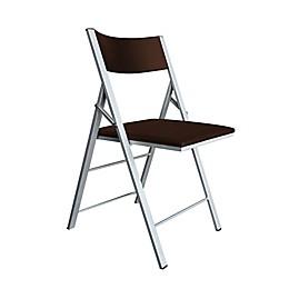 Modern Sensibility Faux Leather Folding Chair in Dark Walnut