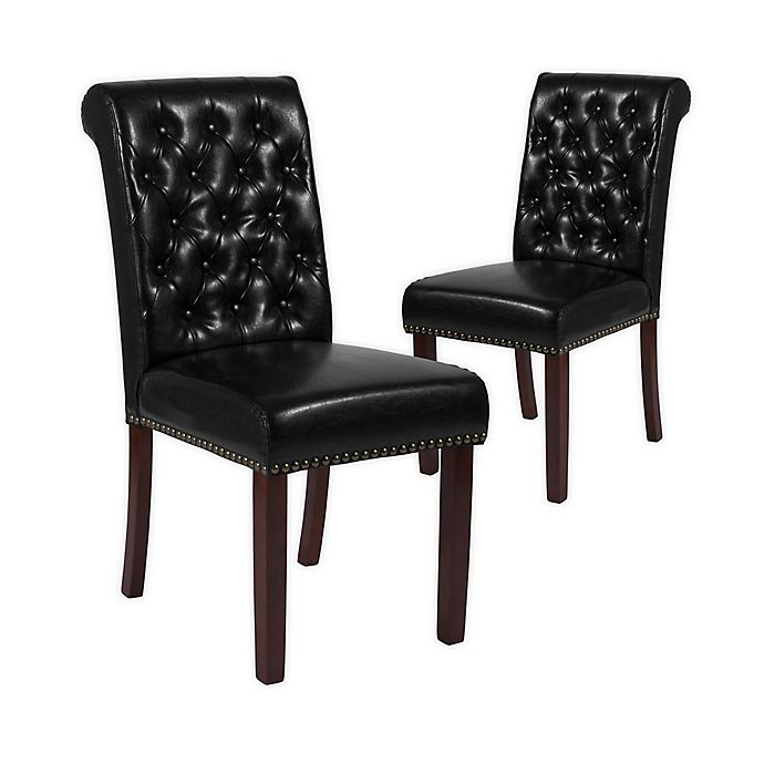 Alternate image 1 for Flash Furniture Faux Leather Upholstered Dining Chairs in Black (Set of 2)