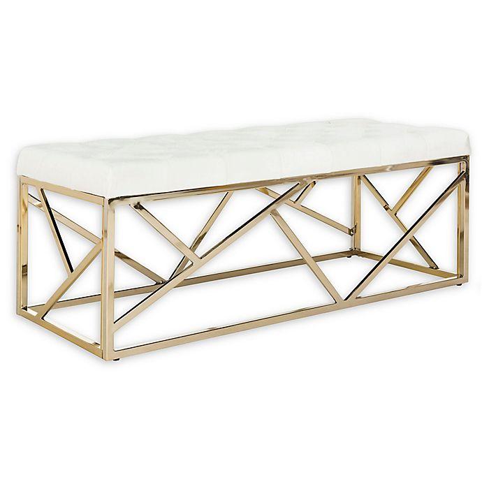 Alternate image 1 for Safavieh Farah Velvet Upholstered Bench in Beige