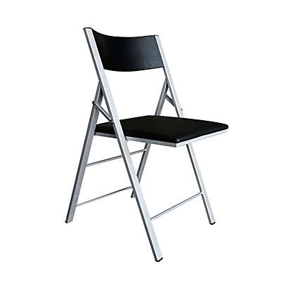 Modern Sensibility Faux Leather Folding Chair in Black