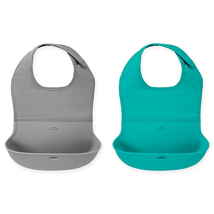 Alternate image 1 for OXO Tot® 2-Pack Roll Up Bib in Grey/Teal