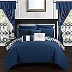 Chic Home Ami 20-Piece Reversible Queen Comforter Set in Navy