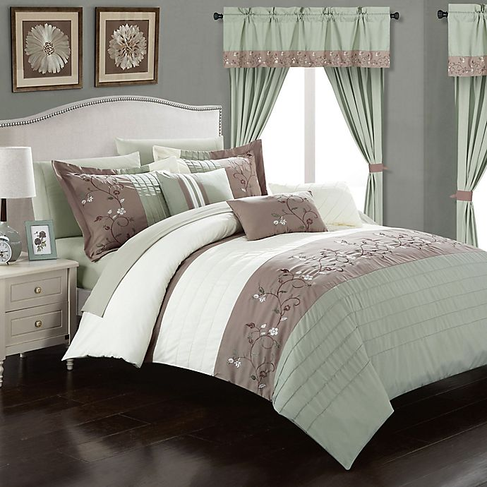 Alternate image 1 for Chic Home Sona 20-Piece King Comforter Set in Sage