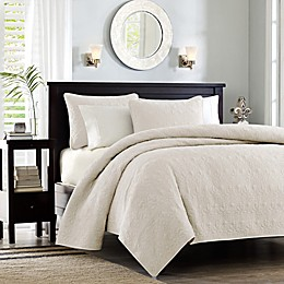 Madison Park Quebec 3-Piece King Ivory Coverlet Set in Khaki
