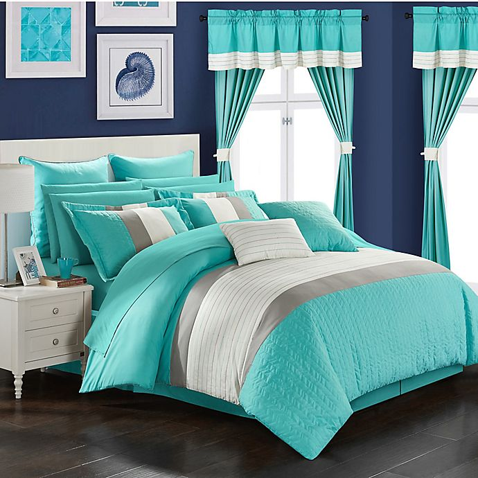 Alternate image 1 for Chic Home Hutch 24-Piece King Comforter Set in Turquoise