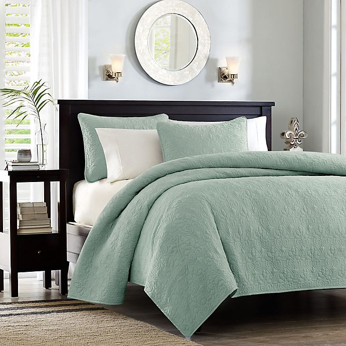 Alternate image 1 for Madison Park Quebec Reversible Twin/Twin XL Coverlet Set in Seafoam