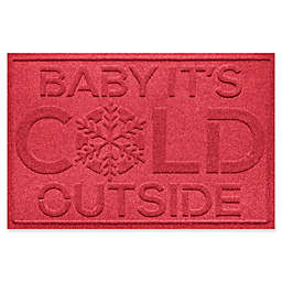 """Weather Guard™ Baby It's Cold 23"""" x 35"""" Door Mat in Solid Red"""