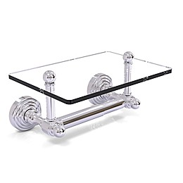 Allied Brass Waverly Place Collection Two Post Toilet Paper Holder with Glass Shelf