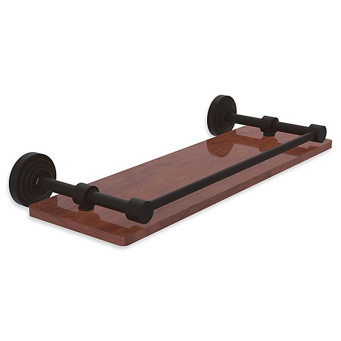 Alternate image 1 for Allied Brass Waverly Place Collection 16-Inch Ironwood Shelf with Gallery Rail in Oil Rubbed Bronze