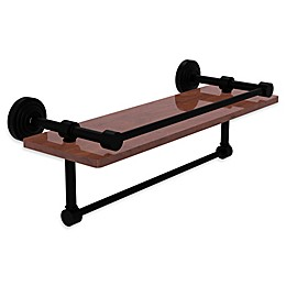 Allied Brass Waverly Place 16-Inch IPE Ironwood Shelf with Rail and Towel Bar in Matte Black