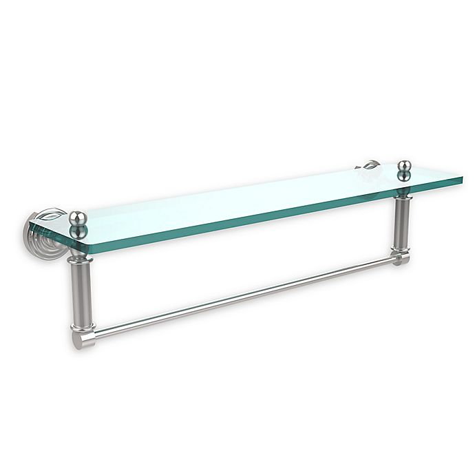 Alternate image 1 for Allied Brass Waverly Place Collection 22-Inch Glass Shelf with Towel Bar in Polished Chrome