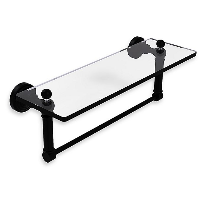 Alternate image 1 for Allied Brass Waverly Place Glass Vanity Shelf  with Integrated Towel Bar