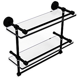 Allied Brass Waverly Place Collection Gallery Double Glass Shelf with Towel Bar