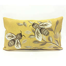 Liora Manne Visions Bees Honey Oblong Indoor/Outdoor Throw Pillow in Gold