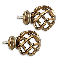 Cambria® Premier Complete Birdcage Finials in Warm Gold (Set of 2)