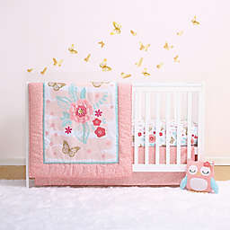 Little Haven Aflutter Crib Bedding Collection in Coral/Gold