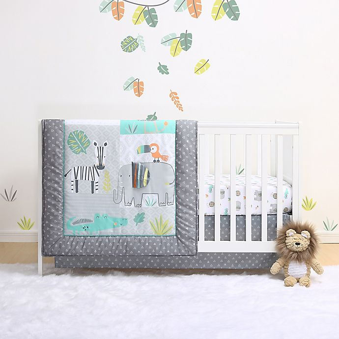 Alternate image 1 for Little Haven Safari Crib Bedding Collection in Green/Grey