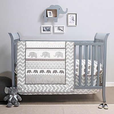 Belle Elephant Walk 4-Piece Crib Bedding Set in Grey/White