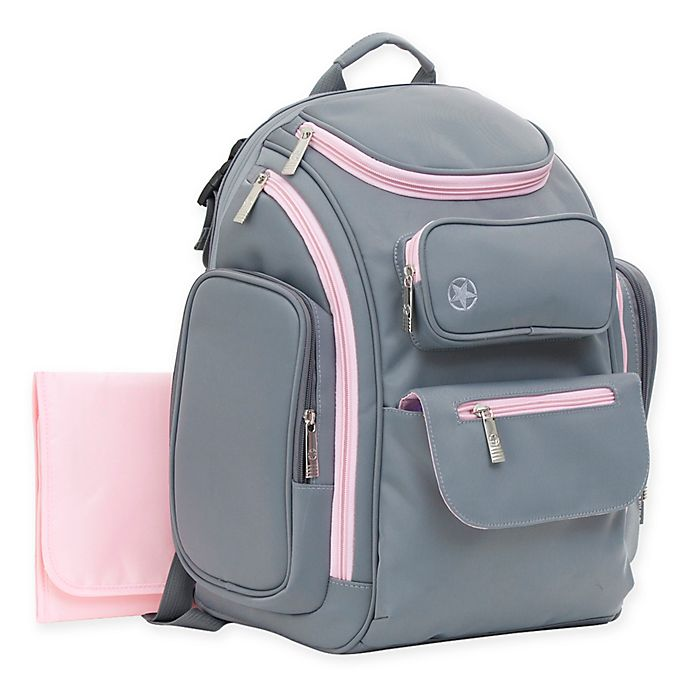 Alternate image 1 for J is for Jeep® Places & Spaces Backpack Diaper Bag in Pink/Grey
