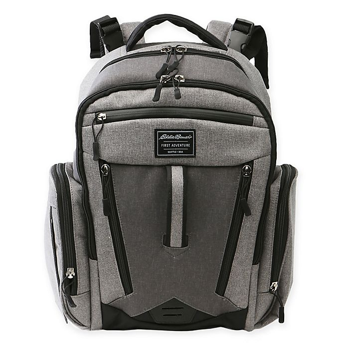 Alternate image 1 for Eddie Bauer® Places & Spaces Traverse Backpack Diaper Bag in Grey/Dark Grey