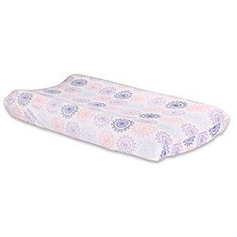 The Peanutshell™ Wildflower Velour Changing Pad Cover in Coral