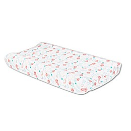 The Peanutshell™ Safari Love Changing Pad Cover in Coral/Teal