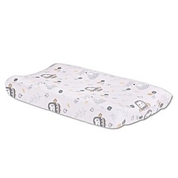 Little Haven Woodland Friends Velour Changing Pad Cover in Grey