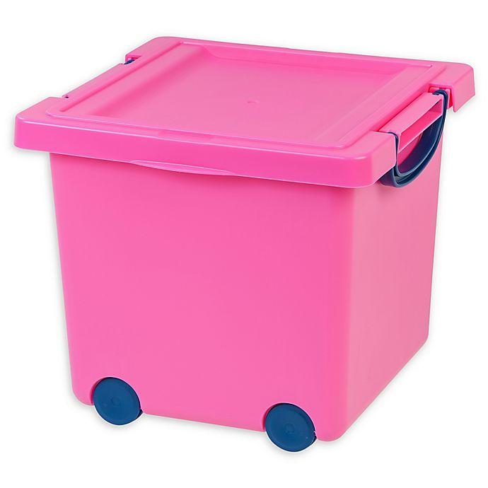 Alternate image 1 for IRIS® 13-Inch x 12-Inch Stacking Toy Storage Box with Wheels