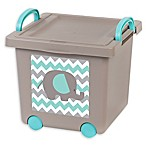 IRIS® 13-Inch x 12-Inch Stacking Toy Storage Box with Wheels in Tan