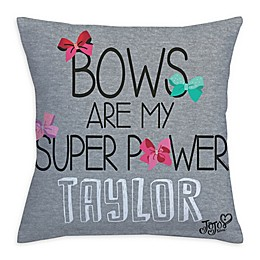 """JoJo Siwa™ """"Bows Are My Super Power"""" Throw Pillow in Grey"""