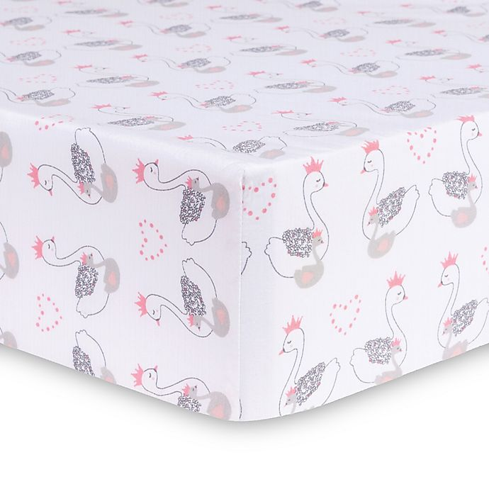 Trend Lab 174 Swans Fitted Crib Sheet In Grey Pink Buybuy Baby