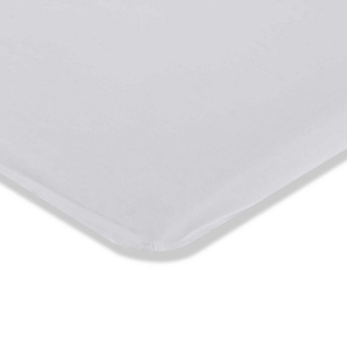 Alternate image 1 for LA Baby® Fitted Mini/Portable Crib Sheet in White
