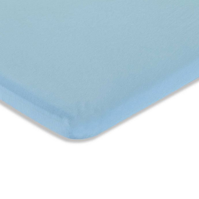 Alternate image 1 for LA Baby® Fitted Cotton Mini/Portable Crib Sheet in Mint
